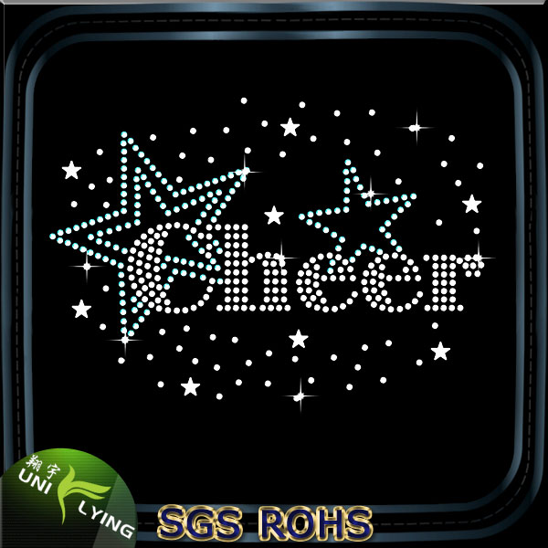 Bling cheerleader star cheer iron on transfers wholesale