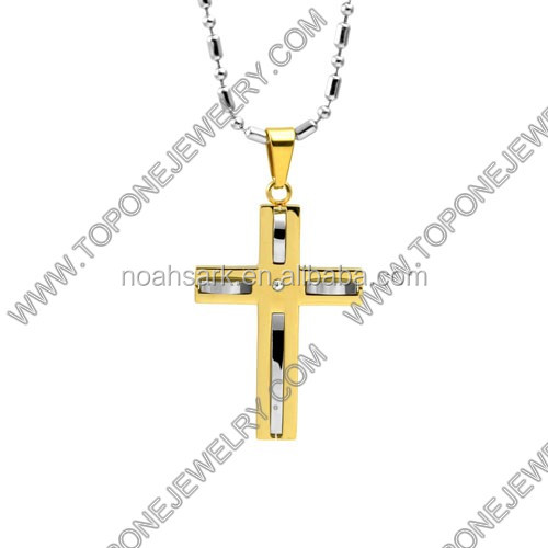 2014 Latest Design Wholesale 14K gold plated men cross pendants China Best Steel Jewelry Manufacturer