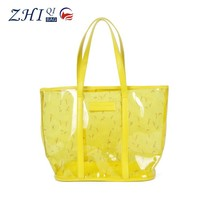 Hot sale summer waterproof women korean fashion beach clear pvc tote bag with printing