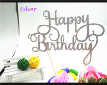 Birthday Party Decorations Glitter Paper Happy Birthday Cake Toppers