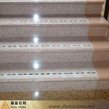 prefabricated natural stone pink stairs