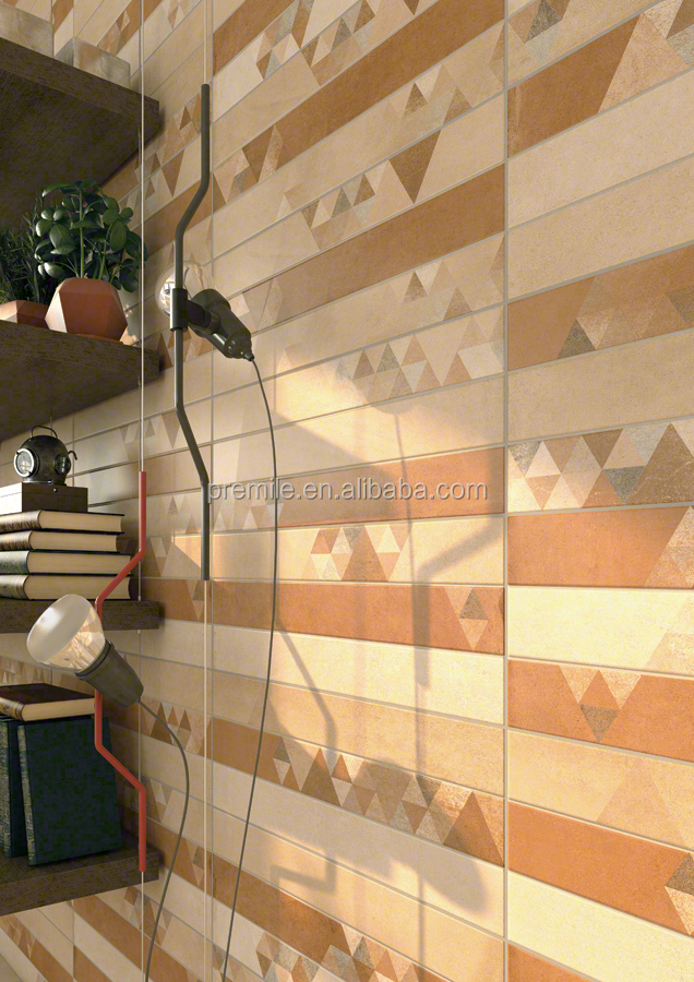 300x600 foshan factory orange geometric design ceramic tile bathroom decorative glazed ceramic wall tile