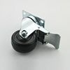 3 inch ESD plate universal inserted rod black wheel caster with brake