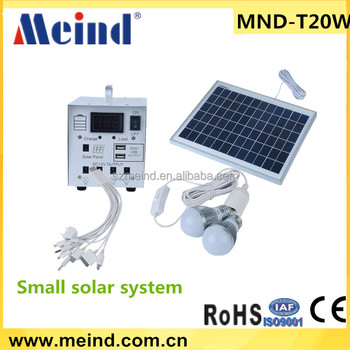 20w mini portable solar lighting system, home solar power system with 5v usb charging port