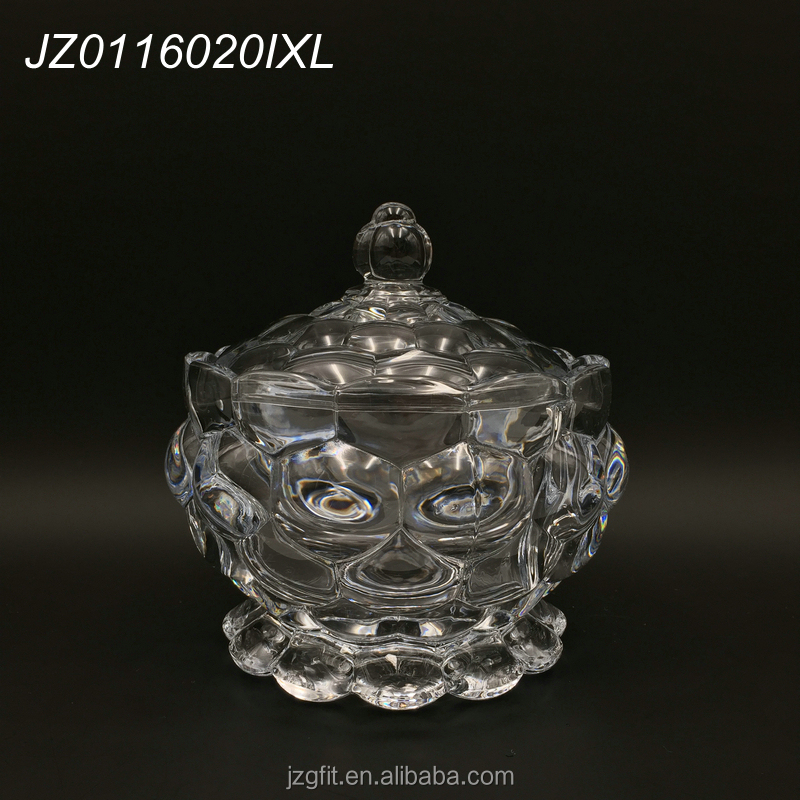Wholesale factory price high-white material clear glass sugar bowl with lid,glass sugar pot set of 3