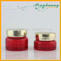 Red Cosmetic Glass Jar with Aluminum Lid