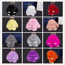 Top Quality faux fur pom keychain plush bunny keychain for factory use
