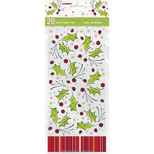 Plastic Material Holly Pop Holiday Cellophane Bags, 20ct