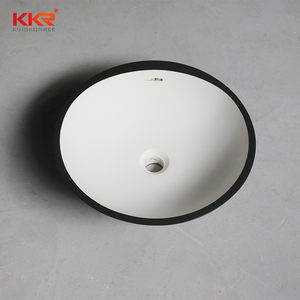 korea antique round gloss black color medical sink marble under counter wash basin