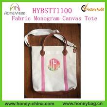 2015 Monogram Heavy Canvas Tote Bag with Faux Leather Handles
