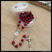 6mm Rose Scented Red Wooden Beads Rosary with Pope Francis Box