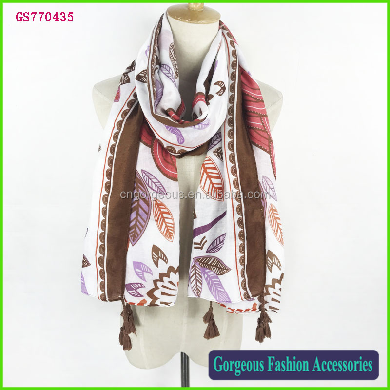 Unique new style 100% cotton winter floral women hijab shawl