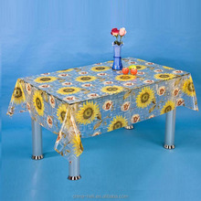 Peva/Eva/PVC Plastic Transparent Print Sunflower Table Cover