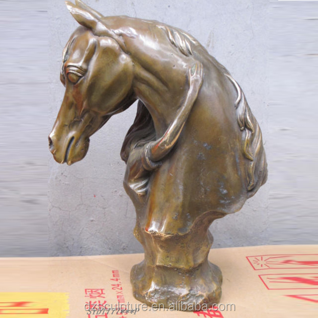 famous cast metal life size horse head sculpture with girl