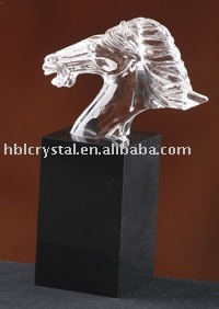 Nice crystal horse head with black base
