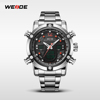 Cool Men Sport Watch WEIDE WH5205 Red Quartz Stainless Steel Watch Water Resistant LCD Digital Display Vogue Wrist Watch