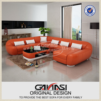 Contemporary furniture top grain leather living room sofa