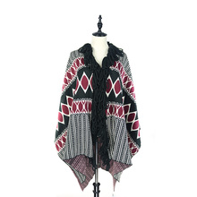 Fashion Chunky Thick Tassel Fringe Collar Knit Cardigan Poncho Shawl