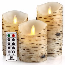 "flameless candles, Candles Birch Set of 4"" 5"" 6"" Birch Bark Battery Candles Real Wax Pillar with Remote Timer"
