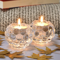 high quality clear crystal glass candle holder stand