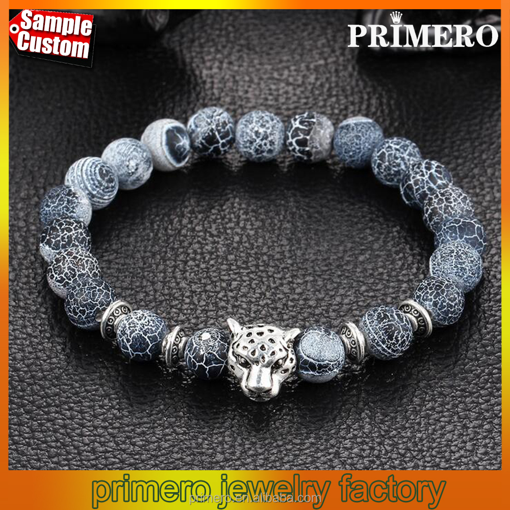 Wholesale Antique Silver Plated Leopard head Lava Natural Stone Beaded Bracelets For Boy And Girl