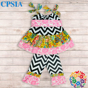 dashiki kids girls dress chevron cotton baby dress with pants sets