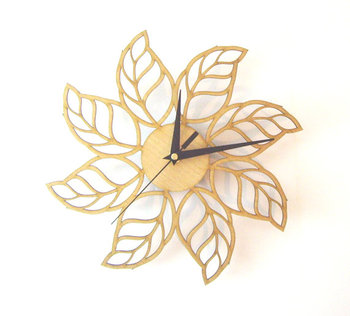 Wooden leaf wall clock for office