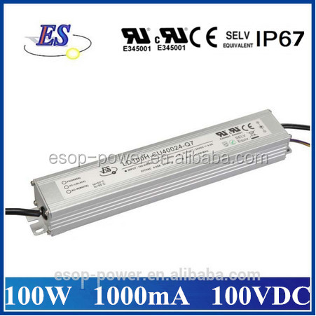 100W 1000mA 100V AC-DC Constant Current Dimmable LED Driver with 1-10V dimming ,CE UL CUL IP67 Approved