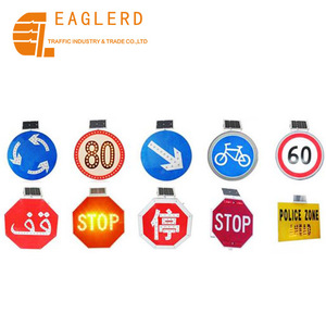 Solar powered LED flashing triangle warning signs traffic sign