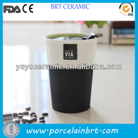 customized white ceramic travel mug with push lid