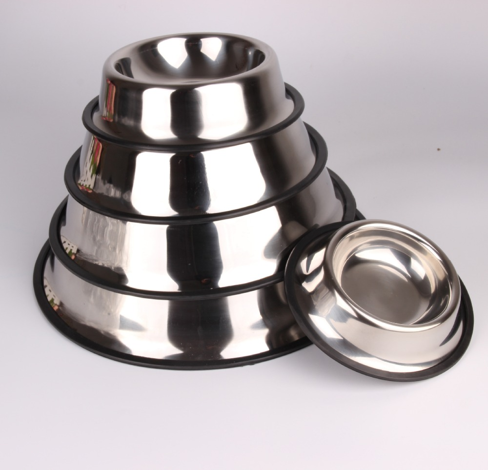 Multi-size anti slip pet feeder bowls best stainless steel dog bowls with rubber bottom