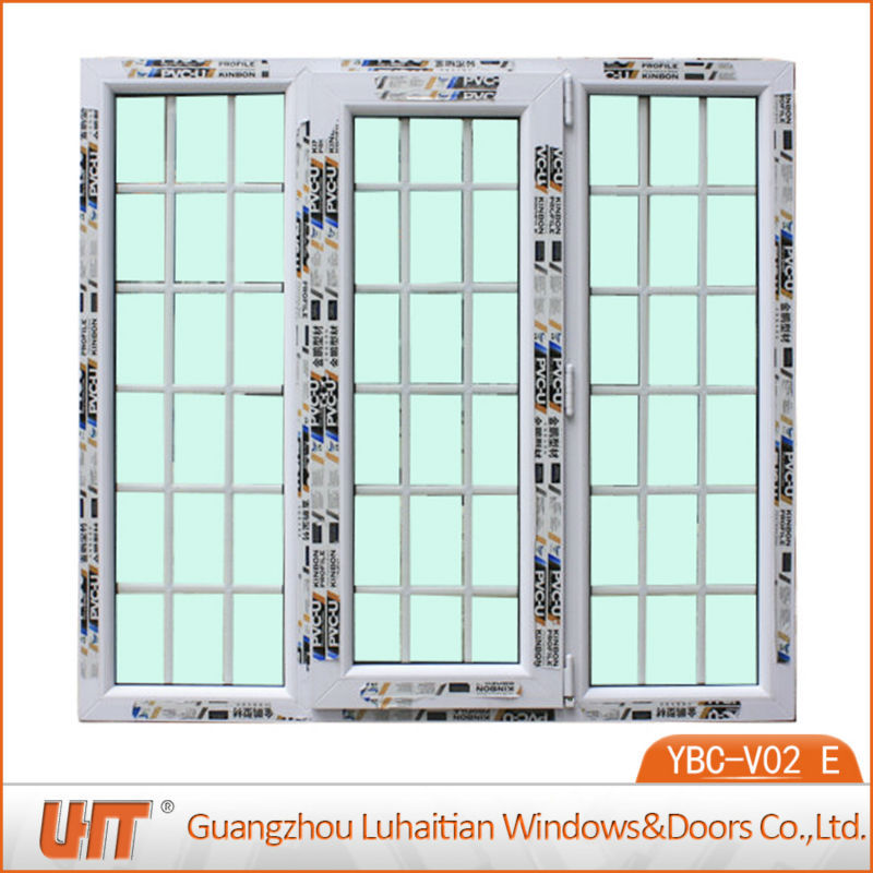 Kinbon pvc plastic french casement window with grills design