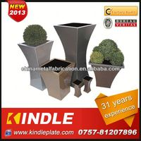 Kindle custom flower pot holder with wheels stainless steel square planter