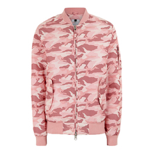 Pastel Pink Camouflage Bomber Jacket Classic bomber shape jacket Elasticated collar hem and cuffs jackets