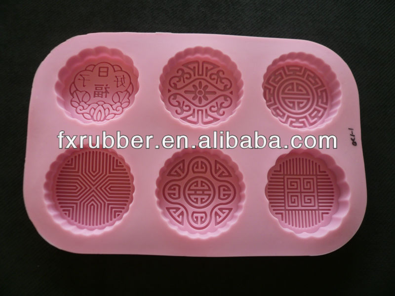 Six mooncakes silicone cake cookies chocolate mold