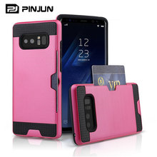 wholesale brushed durable armor case for samsung galaxy note 8 case card slot wallet