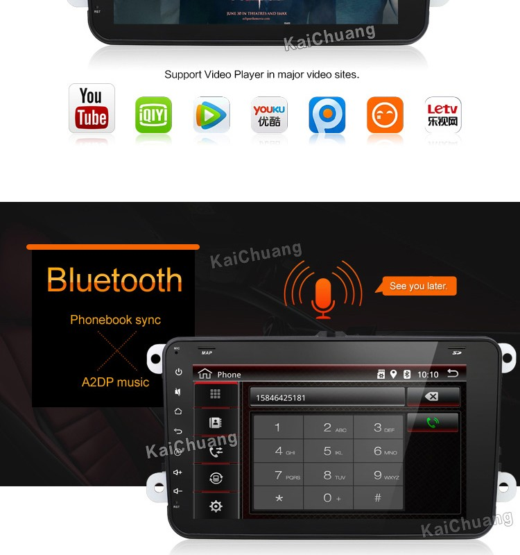 "8"" Full Touch Screen Capacitive 1080P Android 2Din Car Stereo GPS Radio Player for VW Golf with OBD RDS USB Wifi 3G BT Color LED"
