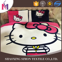 Logo Printed Unique Shape screen print bed sheets grey stripe bedding set