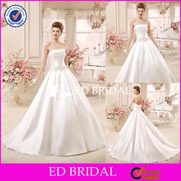 CE1323 Simply 2016 Strapless Chapel/Royal Train Satin Wedding Dresses Country Style