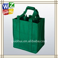 Green non-woven recyled wine bag with strong handle,6 bottoles wine bag