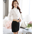 2016 Guangzhou women long sleeve office lady blouse, wholesale office lady ruffle blouse