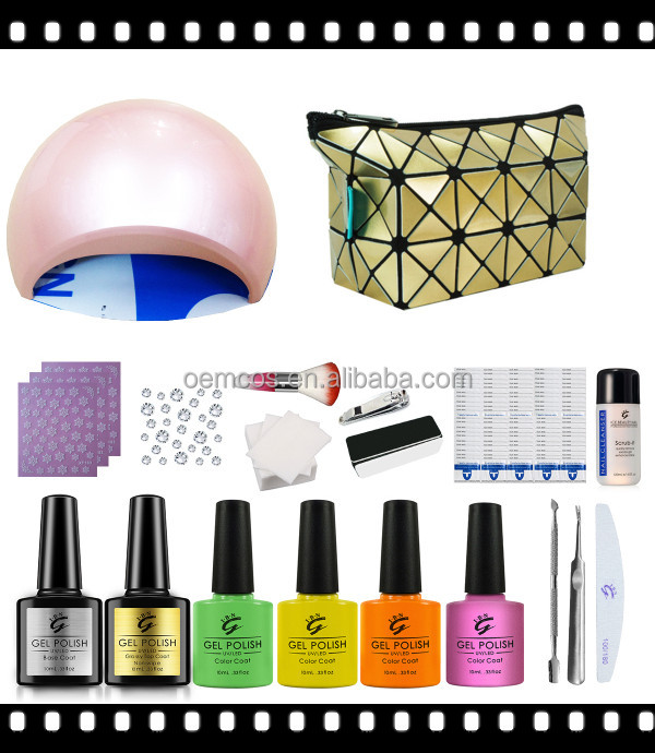 Professional manicure home use gel nail kit with nail art chrome powder