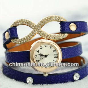 Promotion,Hot Sales Rhinestone 3 Circles Strap Girls Women Geniue Leather Fashion bracelet Dress Wrist Casual Watches