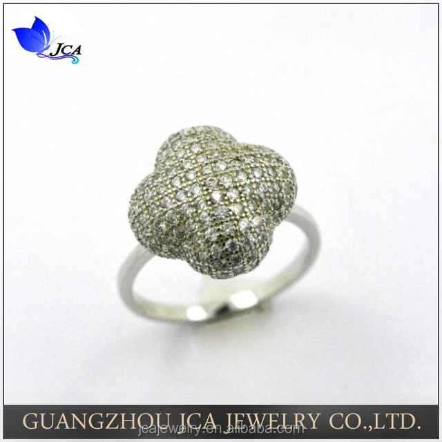925 Silver Micro Pave CZ Diamond Four Leaf Clover Wedding Ring for Women