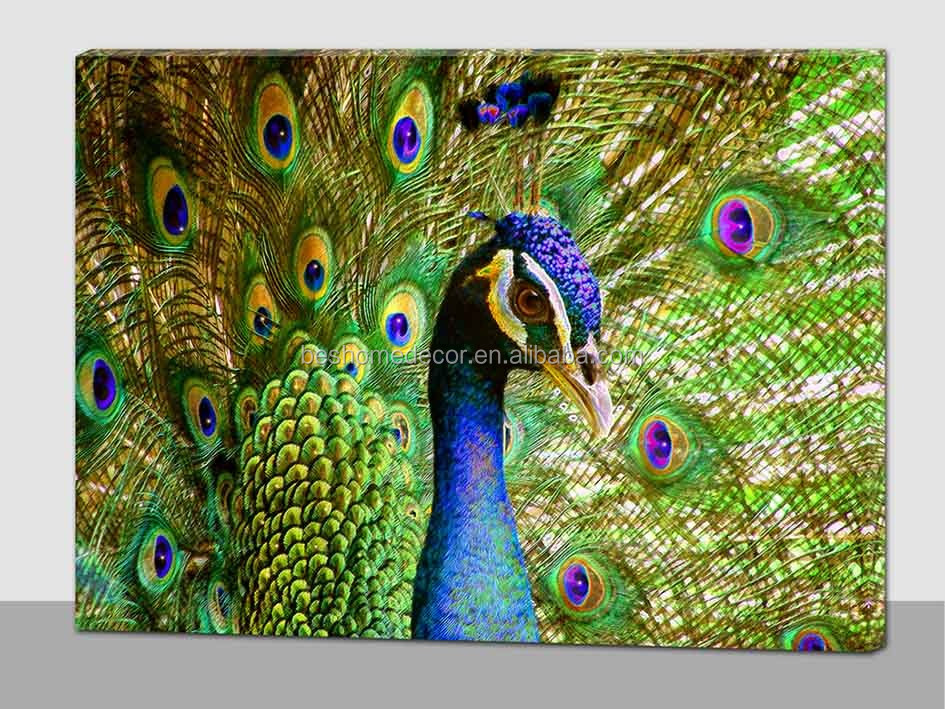 Wholesale peacock lighted pictures fairy led lighted canvas wall art for bedroom view led - Peacock home decor wholesale photos ...