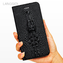 LANGSIDI Luxury Case For iphone x case Genuine Leather Wallet Flip Cover 3D Luxury Silicone Cowhide