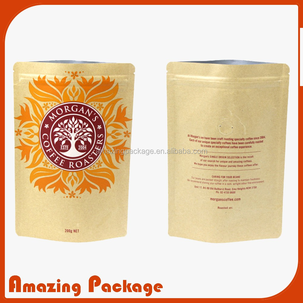 Brown Kraft Paper Food Pouches Retail Packaging Bags With Aluminum Foil Lined
