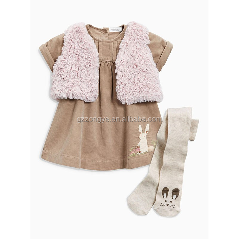 Mink Cord kids clothes baby names of girls dresses and gilet And Tights Set