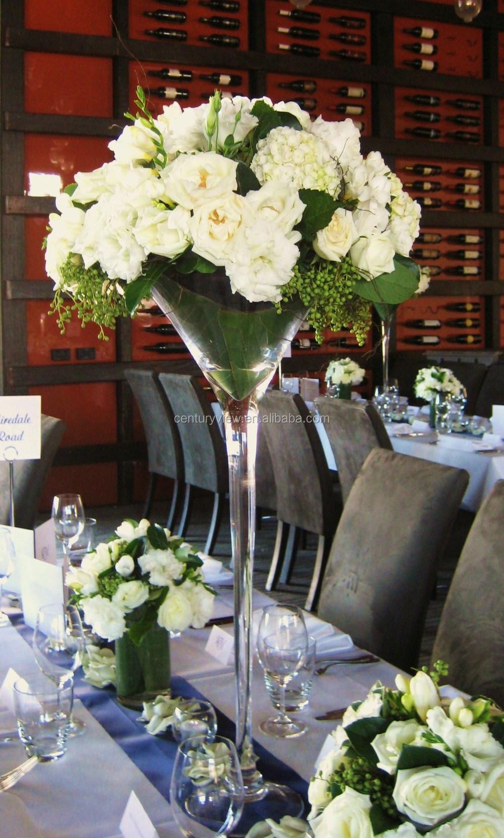 Long stemmed wholesale martini glass vases wedding