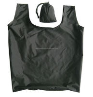 Wholesale Economy Vest RPET Shopping Bag Foldable with drawstring pouch